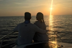 romantic sunset on the boat